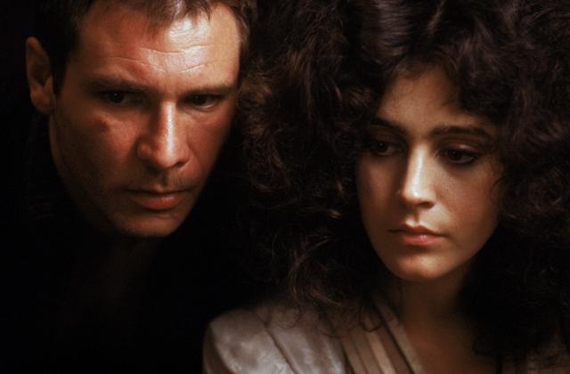 Sean Young as Rachael and Harrison Ford as Rick Deckard